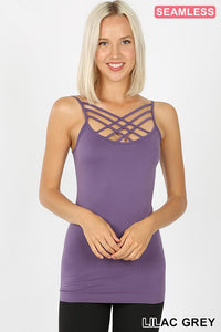 Seamless Triple Criss Cross Cami-Lilac Grey (S-XL) - The Downtown Dachshund