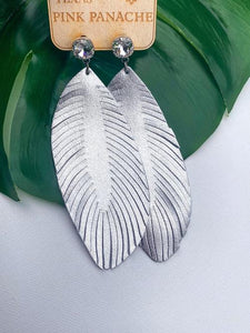 Clear Cushion Cut Silver Feather Earrings