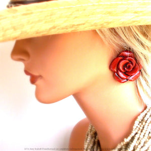 Same Spirit Cabbage Rose Post Earring - The Downtown Dachshund