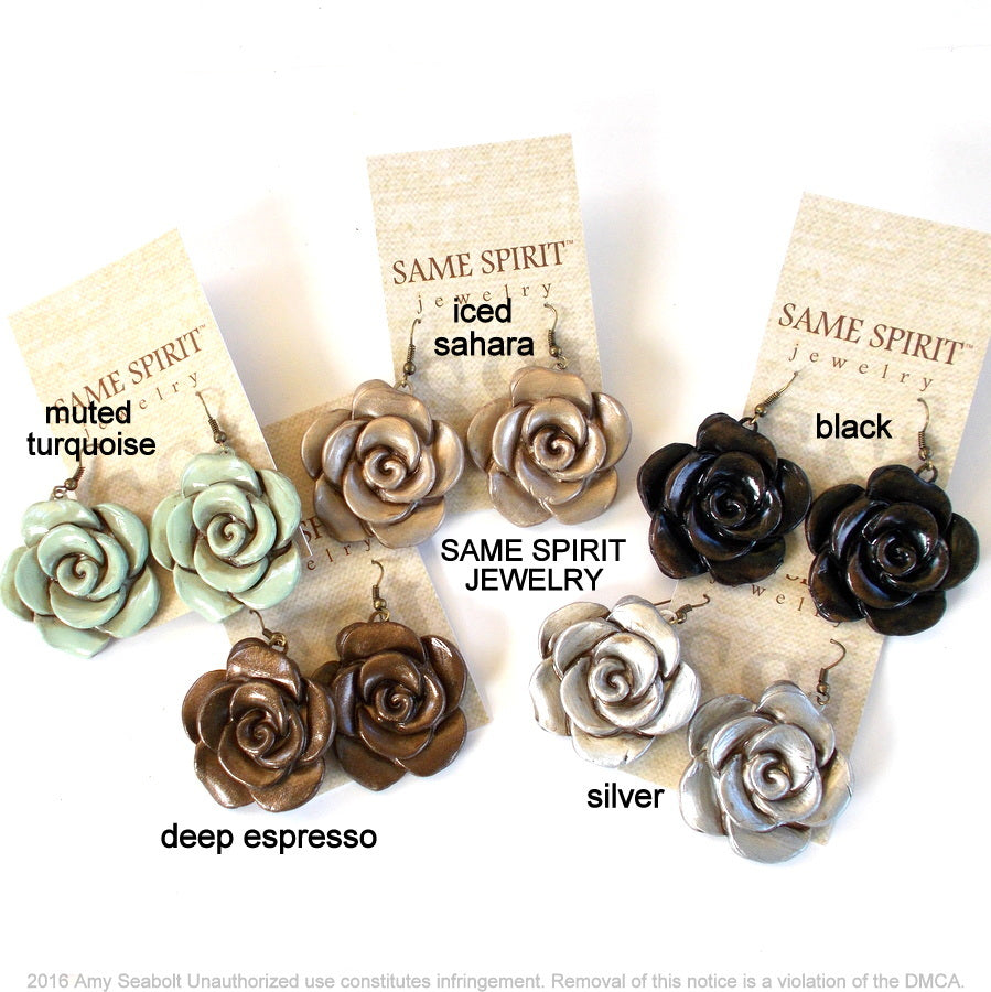 Same Spirit Cabbage Rose Earrings- Multiple Colors - The Downtown Dachshund