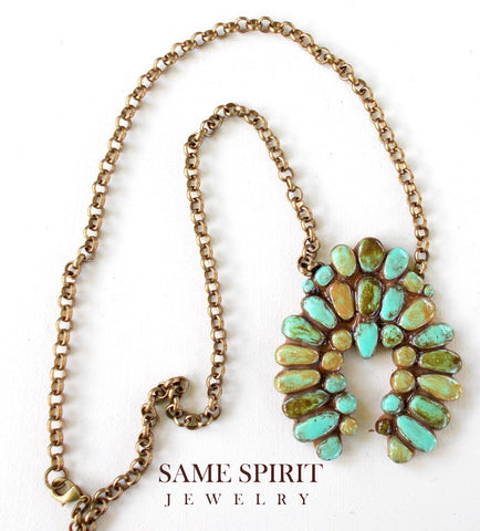 Same Spirit Squash Blossom Turquoise Necklace - the-downtown-dachshund