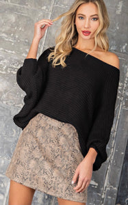 Black Boat Neck Sweater