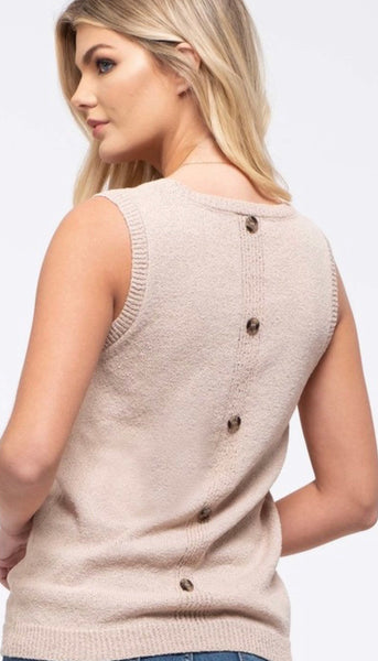 Pocket Sleeveless Sweater-Tan - The Downtown Dachshund