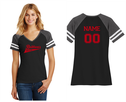 District Made® Ladies Game V-Neck Tee DM476