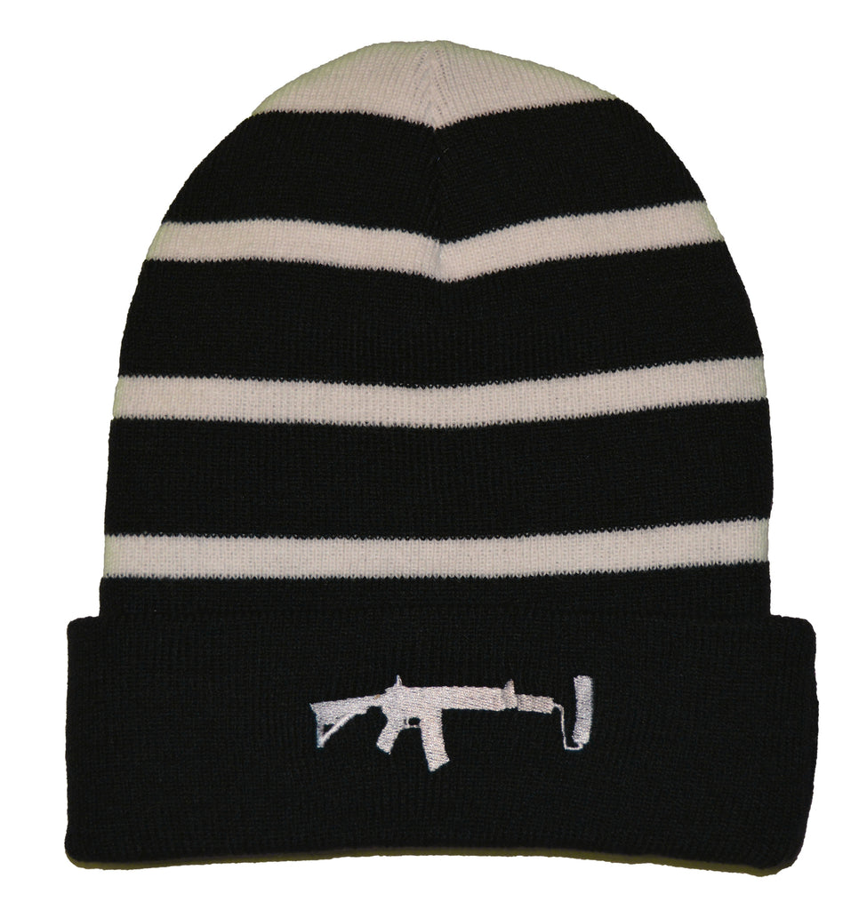 Striped Beanie - White