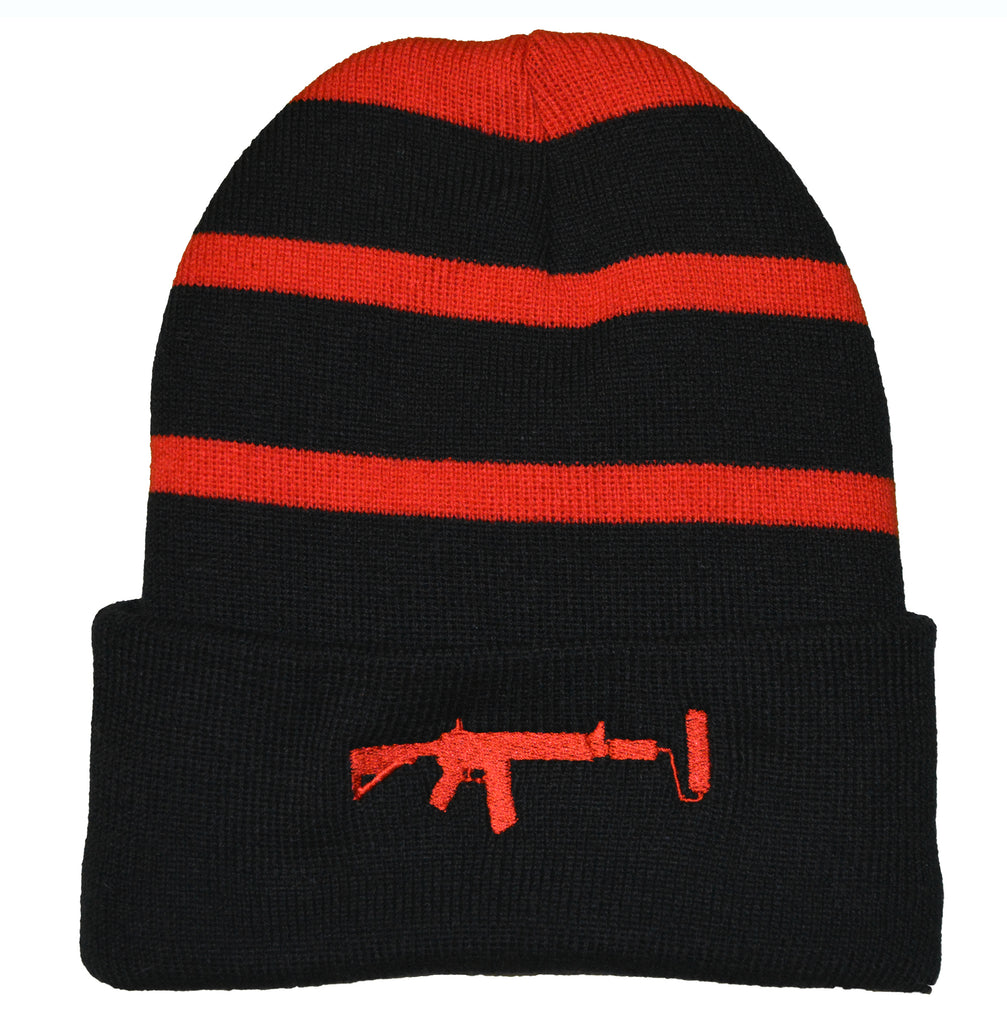 Striped Beanie - Red