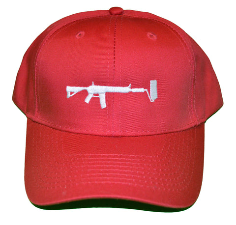 Red Strap back Hat - White