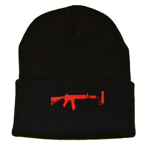 Black V2 Beanie - Red