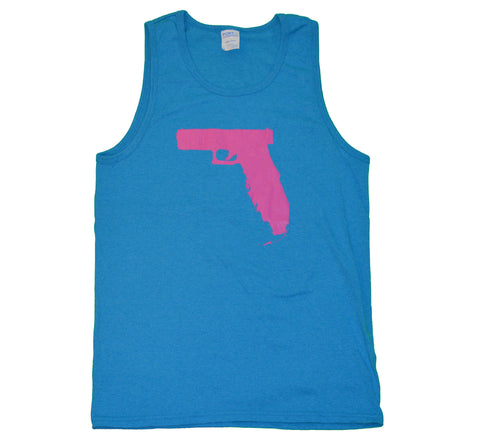 Florida Gun Tank top - Neon Blue/Pink