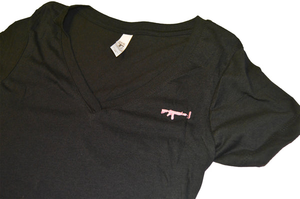 Black Lady's V-neck - Pink XS