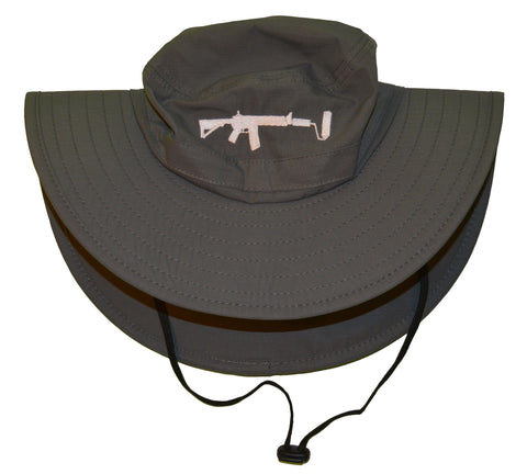 Bucket Hat - Charcoal/White UPF 30