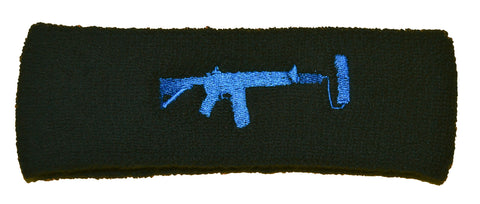 Black Head Sweatband - Blue