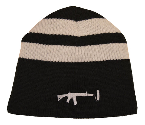 Two Striped Beanie - White