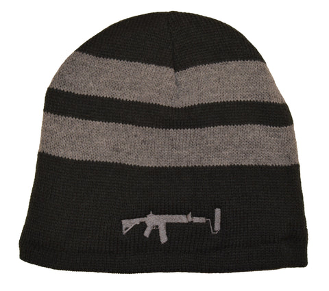 Two Striped Beanie - Grey