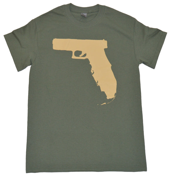 Florida Gun t shirt - Olive/Tan
