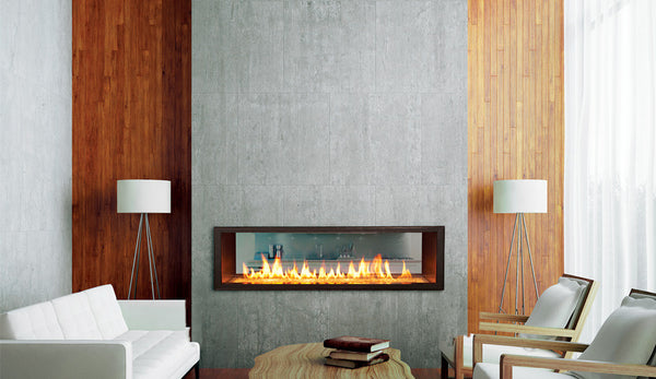 Town and Country WS54 Indoor Outdoor See-Thru Widescreen Fireplace - Click Fire Inc.