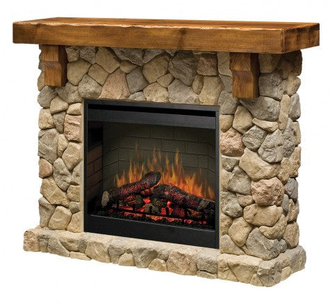 Fieldstone Fireplace and Mantel - Click Fire Inc.