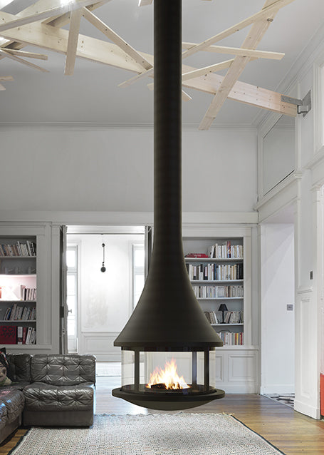 Designer Hanging Wood Burning Fireplace