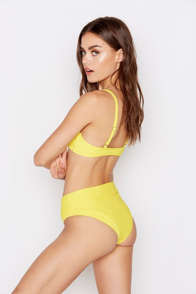 DESERT BIKINI BOTTOM - LEMON RIBBED - Ris-k Swimwear