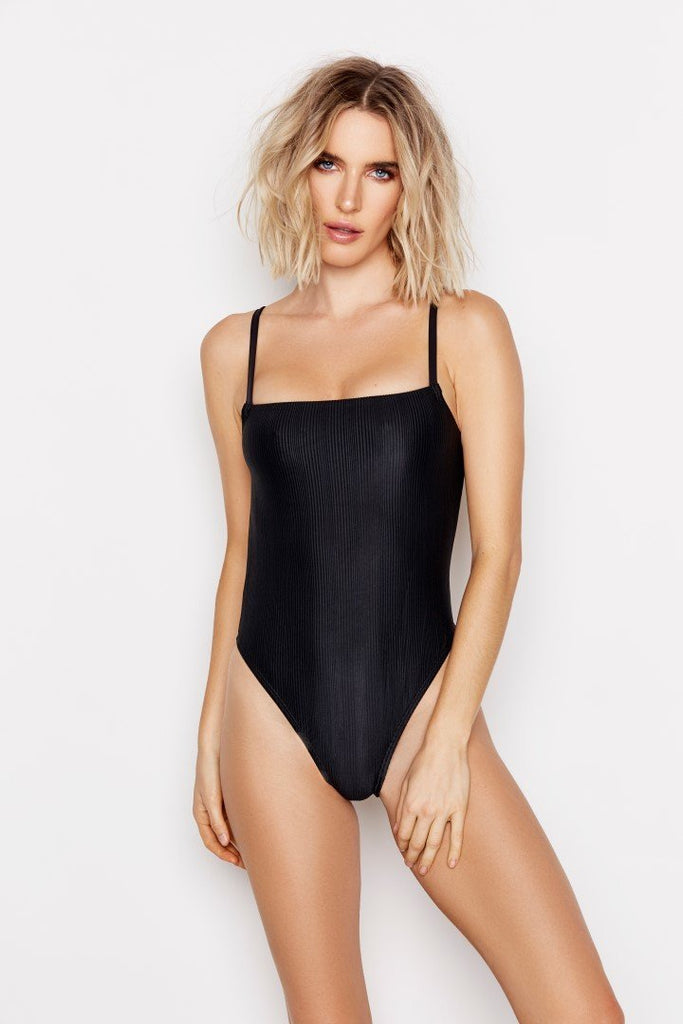 WHISKED ONE-PIECE - JET RIBBED - Ris-k Swimwear
