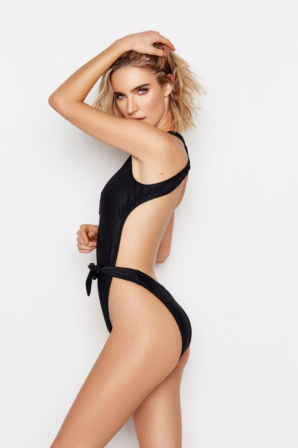 LUNAR ONE-PIECE - JET RIBBED - Ris-k Swimwear