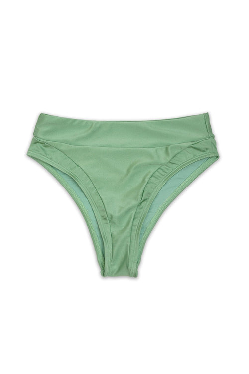 Desert High Waist Panels Bikini Bottom in Shimmer Seafoam - Front - Dippin' Daisy's