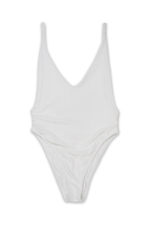VORisk Swimsuit - YAGER High Cut Panel ONE PIECE Swimsuit in Ribbed Texture Salt Front - RIS-K