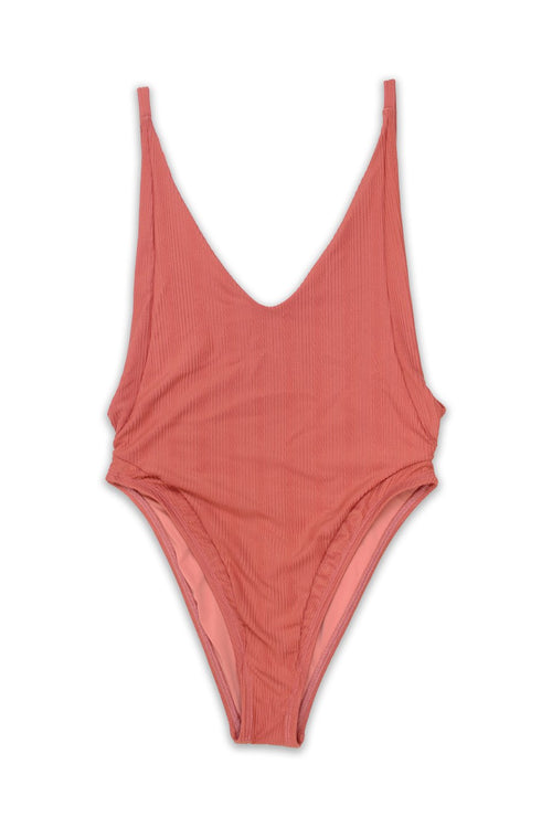 VOYAGER High Cut Panel ONE PIECE Swimsuit in Texture Sunset - Front - RIS-K