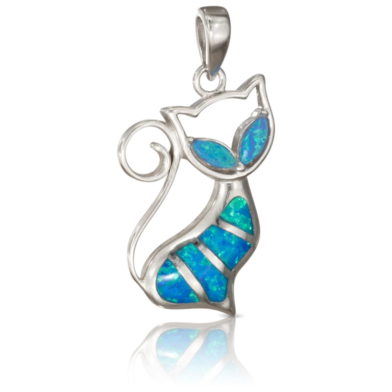 Sterling silver synthetic blue opal cat pendant we kitty cats sterling silver synthetic blue opal cat pendant aloadofball Choice Image