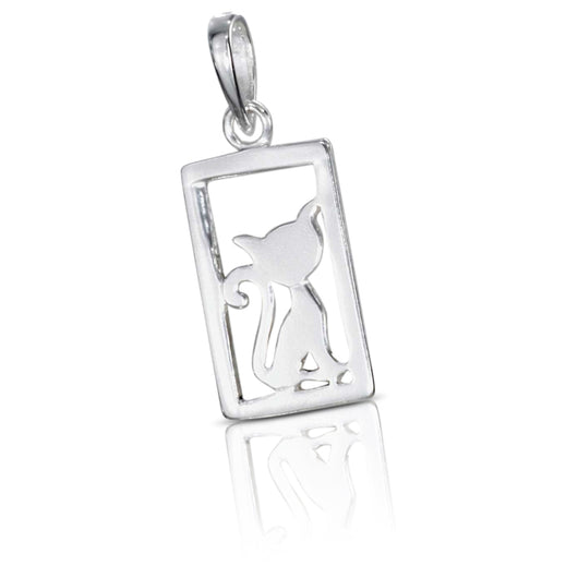 Sterling silver framed kitty silhouette pendant we kitty cats sterling silver framed kitty silhouette pendant aloadofball Image collections