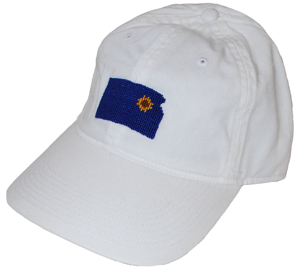 White Embroidered Kansas Sunflower Cap
