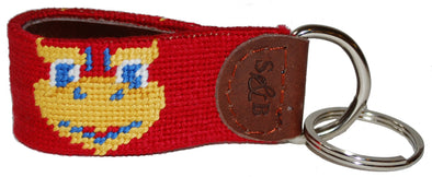 Kansas Jayhawk Needlepoint Key Fob