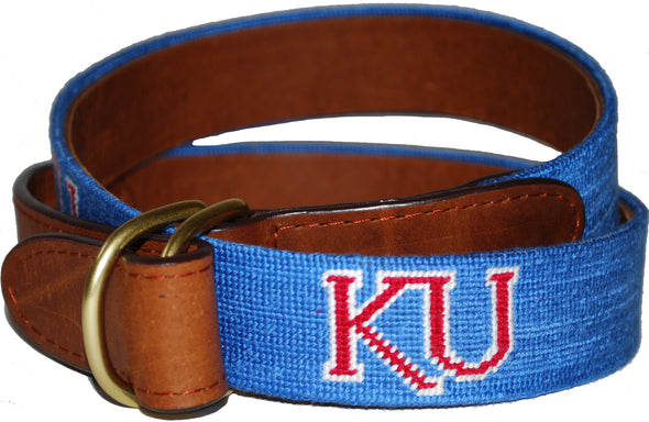 "Double Ring Kansas ""KU"" Needlepoint Belt"
