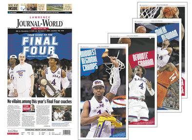 "Set of Four Lawrence Journal-World Page Reprints + FREE ""Guide to the Final Four"" Special Edition Newspaper (March 30, 2018)"