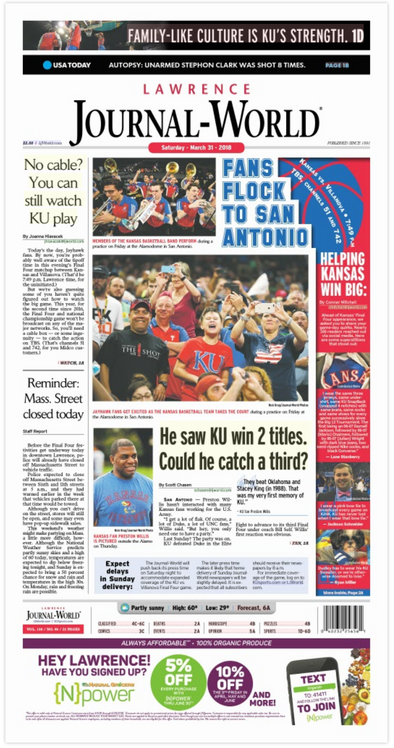 Fans Flock to San Antonio (March 31st, 2018) Edition of the Journal-World