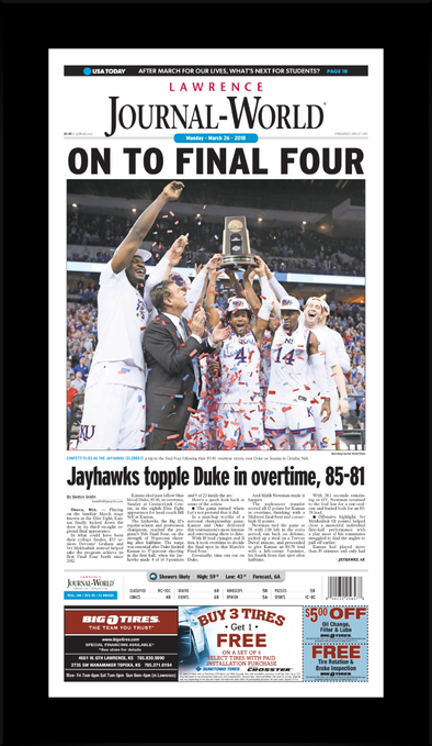 On To The Final Four (March 26th, 2018) Journal-World Commemorative Plaque