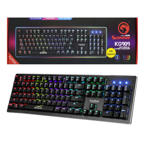 Marvo Scorpion KG909 RGB LED Full Size Mechanical Gaming Keyboard with Blue Switches