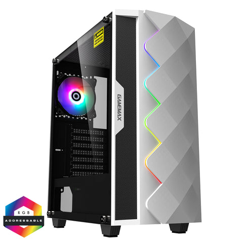 GameMax White Diamond ARGB Gaming Case 1 x ARGB Fan 1 x ARGB LED Strip