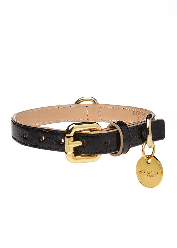 Classic Patent Dog Collar Black