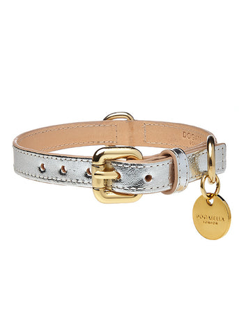 Metallic Dog Collar Silver