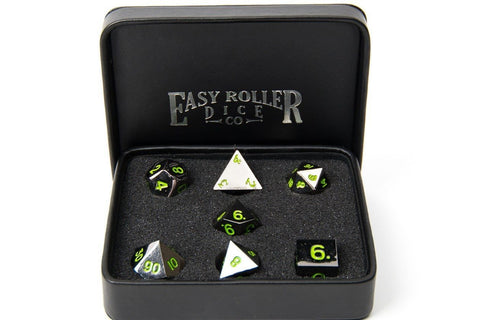 metal dice - green numbering