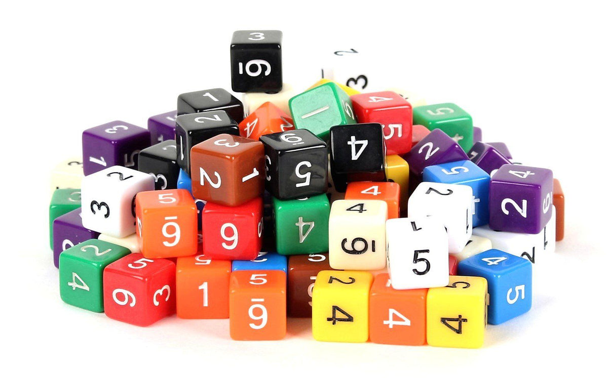 100 Six Sided Dice - 16mm Standard Size - Numbered Solid Opaque Dice with 10 Unique Colors