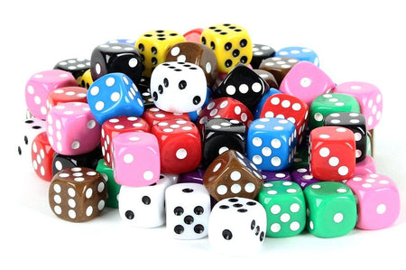 100 Six Sided Dice - 16mm Standard Size - Pipped (Dotted) Dice - 10 Unique Solid Opaque Colors
