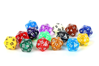 15 Count Pack of 20 Sided Dice -15 Unique Colors Includes Swirls, Translucent and Opaque