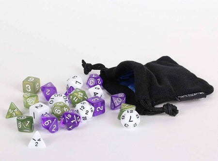 21 Count - White Opaque, Olive Green, Trans Purple with Small Dice Bag