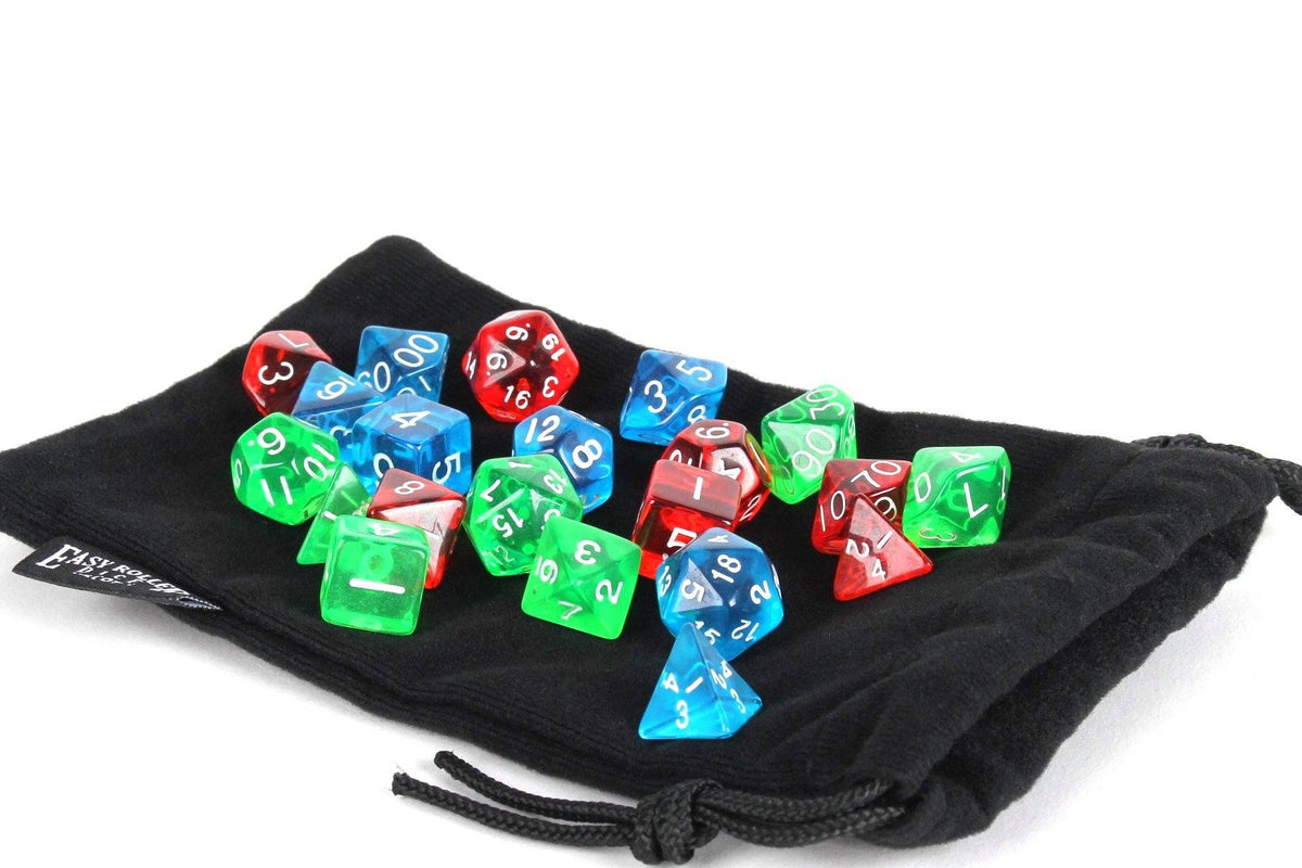 3 Pack of Best Selling Polyhedral Dice Sets - Translucent Pack - Includes Blue, Red, and Green Translucent Dice Sets Along with a Free Small Dice Bag