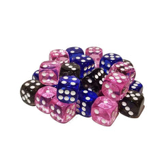 36 Six Sided Dice - Pipped (dots) In 3 Colors 12 Dice Per Color - 16mm Standard Size