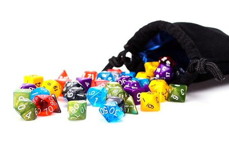 42 Count Bulk Assorted Polyhedral Dice In 6 Complete Sets | With Carrying Bag