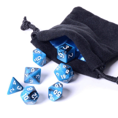7 piece black ice polyhedral dice