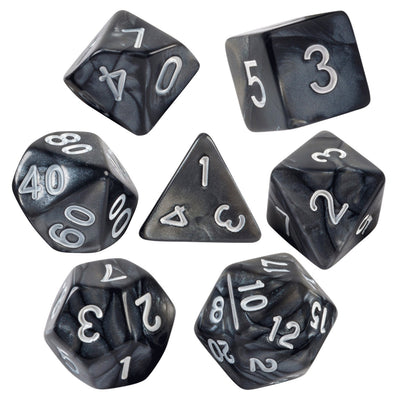 Black Marbled 7 Dice Set With Bag